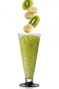 Banana Kiwi and Soy Protein Smoothie with Hemp Seeds
