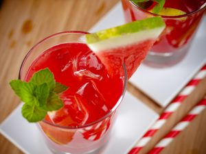 Iced Watermelon Lime and Coconut Drink