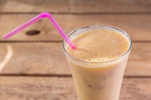 Low Calorie Plum Banana Almond Shake with Cardamom