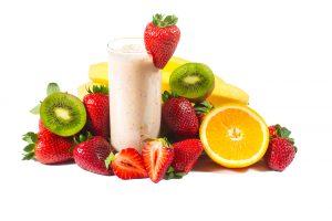 Orange Strawberry and Kiwi Milkshake