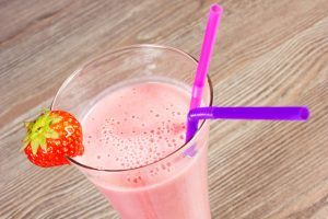 Strawberry and Plum Milkshake with Hemp Seeds Recipe